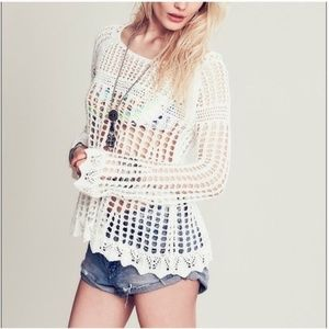 Free People Annabelle crochet bell sleeve top